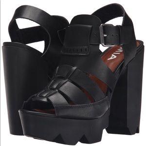 MIA Luka Platform Chunky Heels Sandals Black